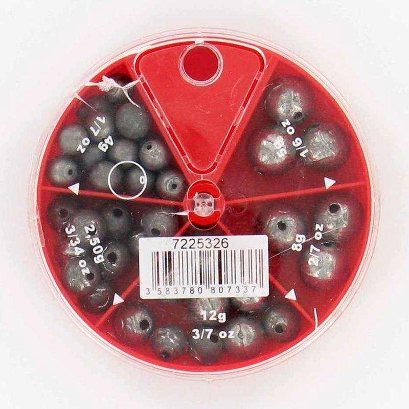 ОЛОВО И ТЕЖЕСТИ Риболов - Кутия кръгло пробито олово, 5 CAPERLAN - Риболов на хищни риби