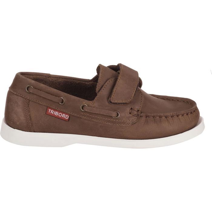Chaussures bateau cuir enfant CR500 marron - 912822