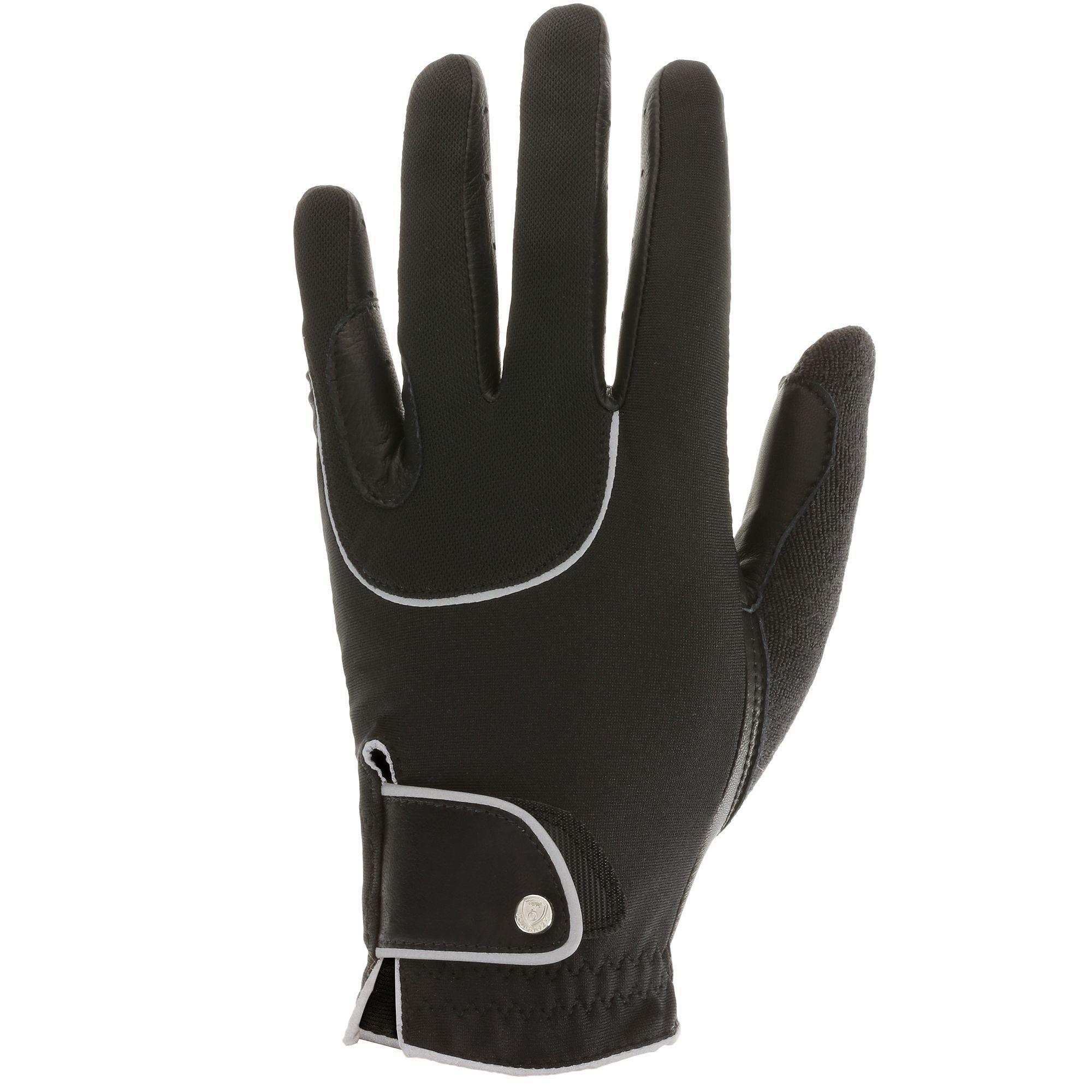Rijhandschoenen Pro'Leather volwassenen zwart