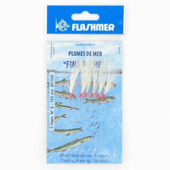 Onderlijn fijne visserij voor vissen op zee 6 haken nr. 6