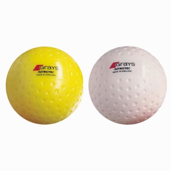 Feldhockeyball Astrotec, genoppt, weiß/gelb
