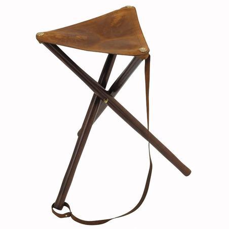 Medžioklinė medinė trikojė kėdė, apmušta oda 500