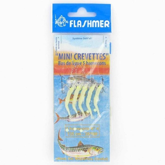 Vorfach Meeresangeln Minigarnele 5 Haken Nr. 4