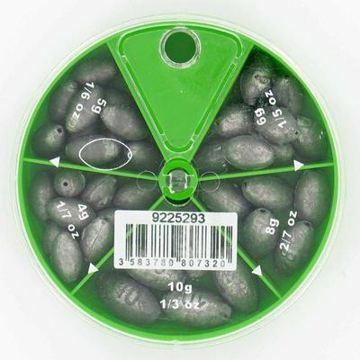 Оливкоподібні грузила з отвором у контейнері на 5 відділень