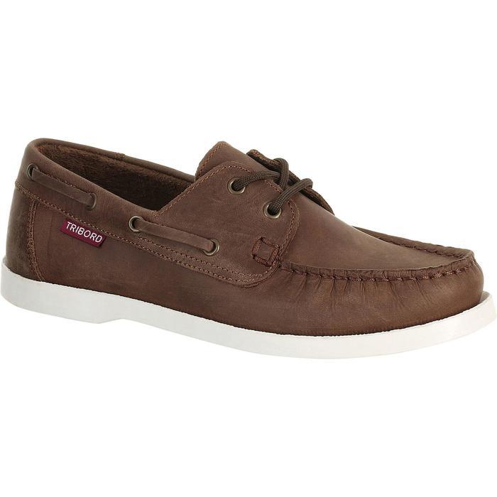 Chaussures bateau cuir enfant CR500 marron - 918248