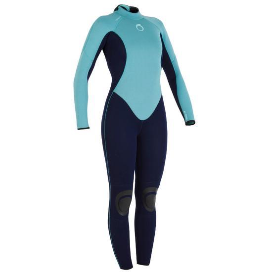 Wetsuit 100 neopreen 4/3 mm dames blauw - 919298