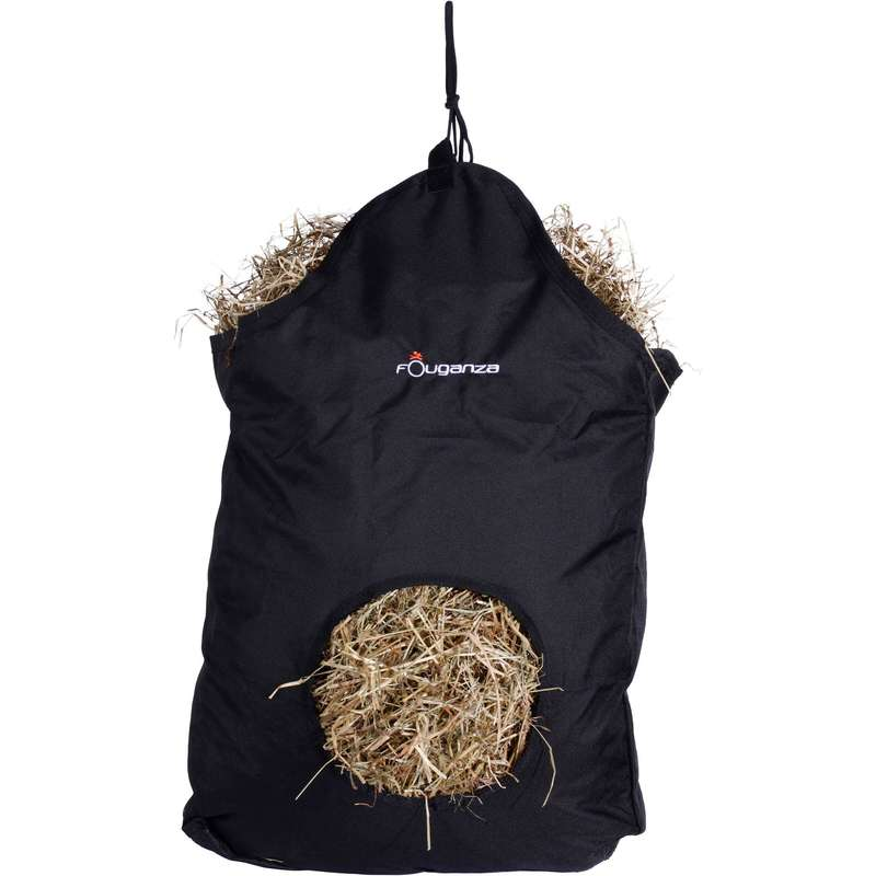 HORSE STABLE EQUIPMENT Horse Riding - Hay Net - Black FOUGANZA - Horse Riding