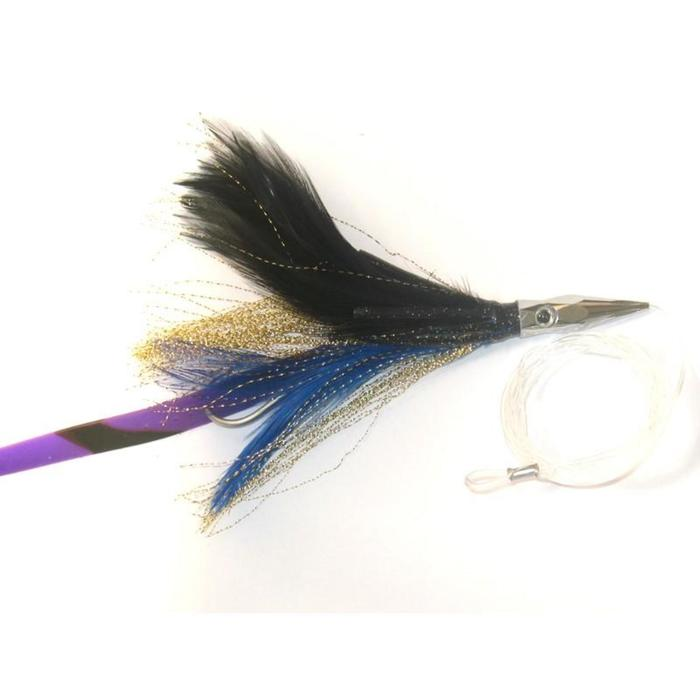 Leurre Flash feather monté bleu 04 pêche à la traine