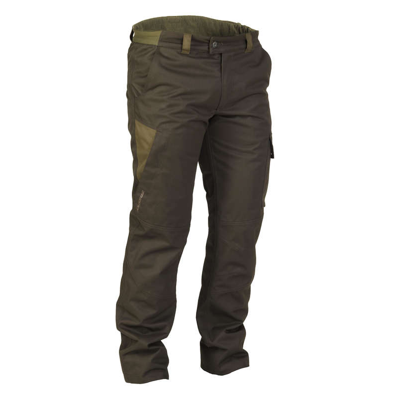 WARM CLOTHING Shooting and Hunting - 500 Warm Waterproof Hunting Trousers - Brown SOLOGNAC - Hunting and Shooting Clothing