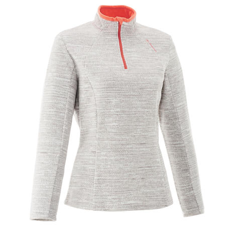 Women's Mountain Walking Fleece Forclaz 50 - Mottled White Print