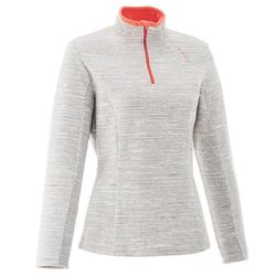 Forclaz 50 女性登山刷毛衣- 白色雲紋。