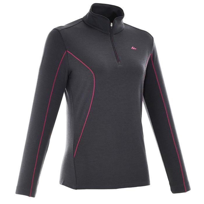 T-Shirt manches longues zip trekking Techwool 190 laine femme - 924868