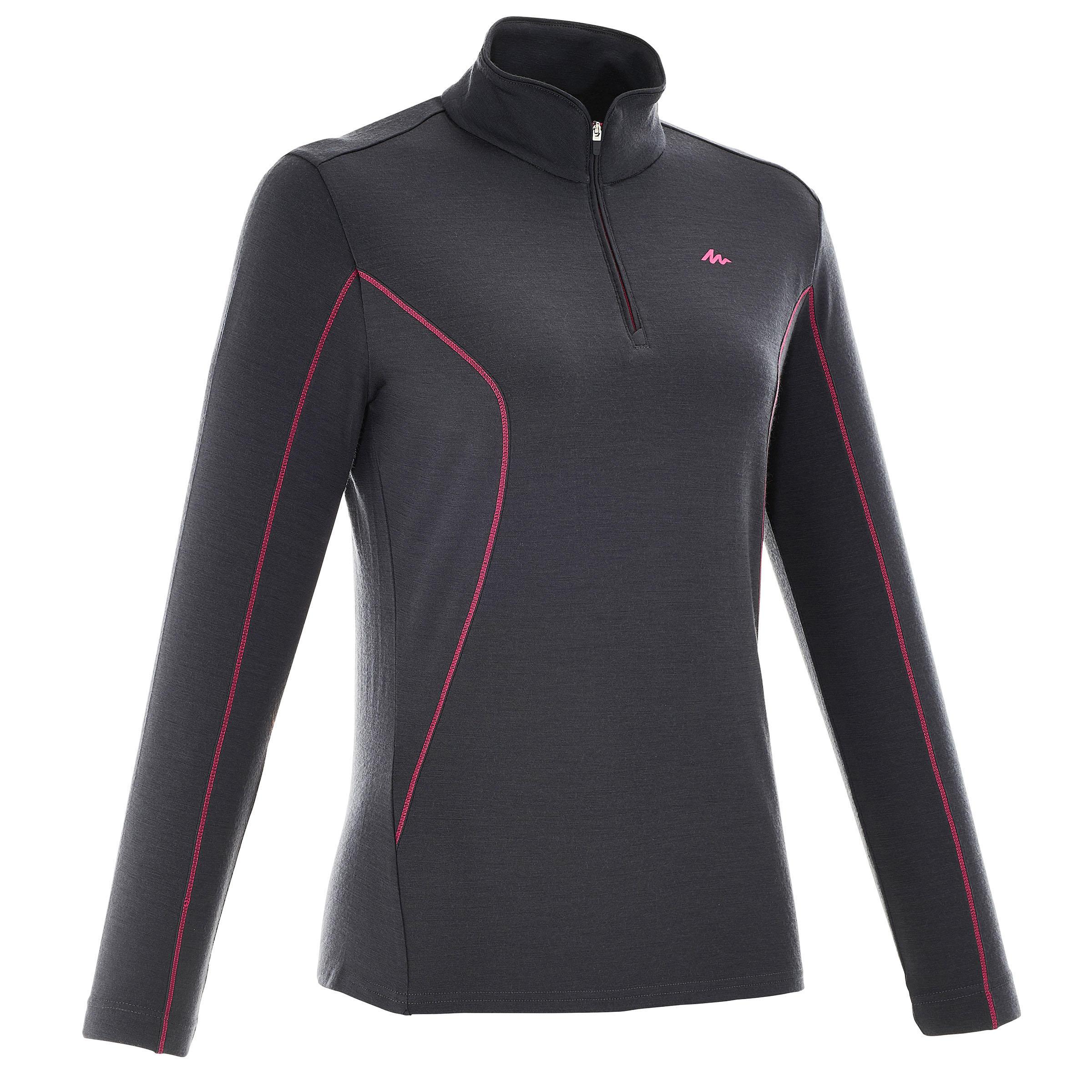 T-shirt manches longues zip randonnée montagne TREK 700 WOOL femme noir