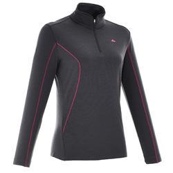 Merino wol damesshirt met lange mouwen en rits voor trekking Techwool 190 zwart