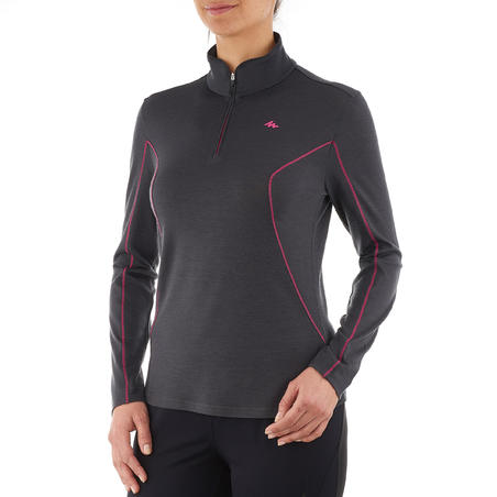 Women's Black Long-Sleeved Mountain Trekking Shirt TECHWOOL190 Zipper