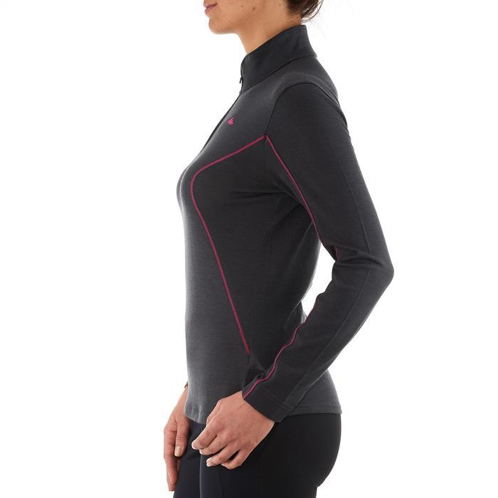 T-shirt manches longues zip laine mérinos trek montagne - TREK 500 noir femme