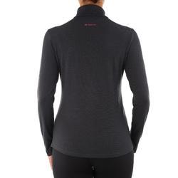 Damesshirt met lange mouwen en rits voor trekking Techwool 190 - 924872
