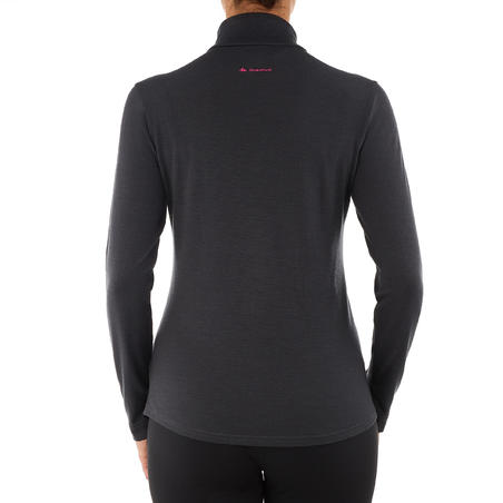 Women's Mountain Trekking Long-Sleeved Merino Wool T-Shirt Trek 500 - black