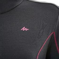 Shirt met lange mouwen voor bergtrekking Techwool 190 rits dames zwart