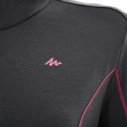 T-shirt manches longues randonnée montagne TECHWOOL190 glissière femme noir
