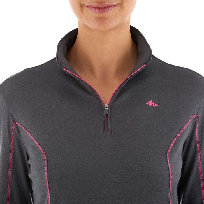 T-Shirt manches longues zip trekking Techwool 190 laine femme - 924876