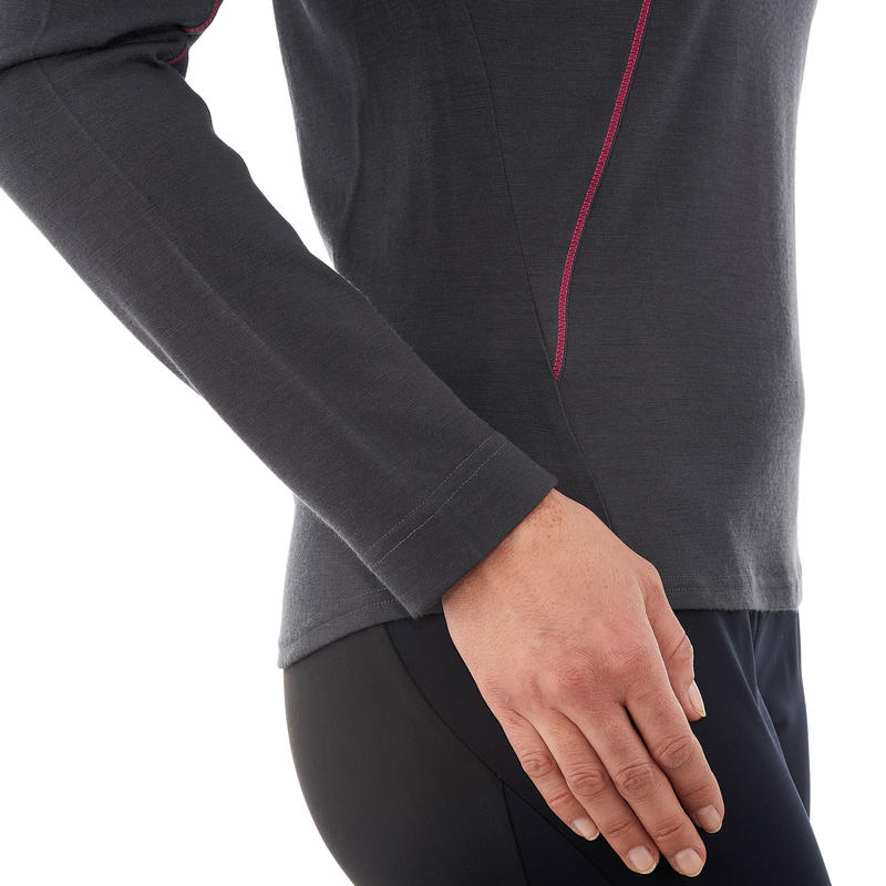 เสื้อยืดแขนยาวผ้าเมอริโนวูลเพื่อการเทรคกิ้งบนภูเขาสำหรับผู้หญิงรุ่น Trek 500 (สีดำ)