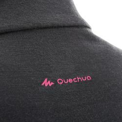 Merinoshirt langarm Techwool 190 mit Reißverschluss Damen schwarz