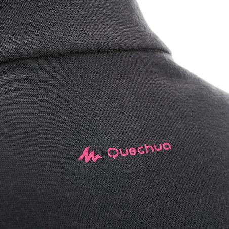 Women's Mountain Trekking Long-Sleeved Merino Wool T-Shirt Trek 500 - black