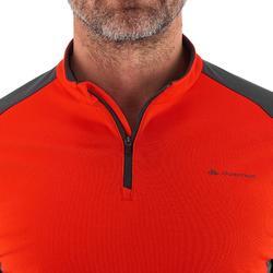 男士長袖雪地健行運動T恤 SH100 Warm - 暖紅