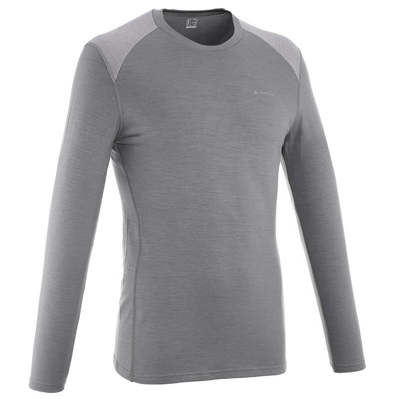 Herenshirt merino wol voor trekking Techwool 190 grijs