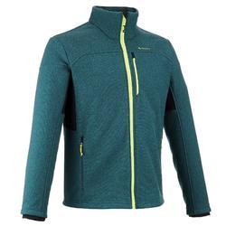 男款登山健行刷毛外套Forclaz 500-藍色