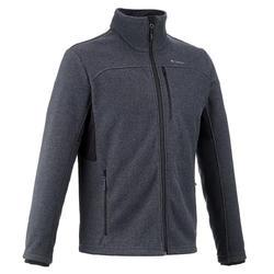 男款登山健行刷毛外套Forclaz 500-深灰色