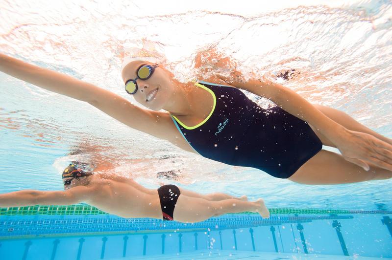 ชุดว่ายน้ำวันพีซสำหรับผู้หญิงรุ่น Kamiye (สีเหลือง/น้ำเงิน)