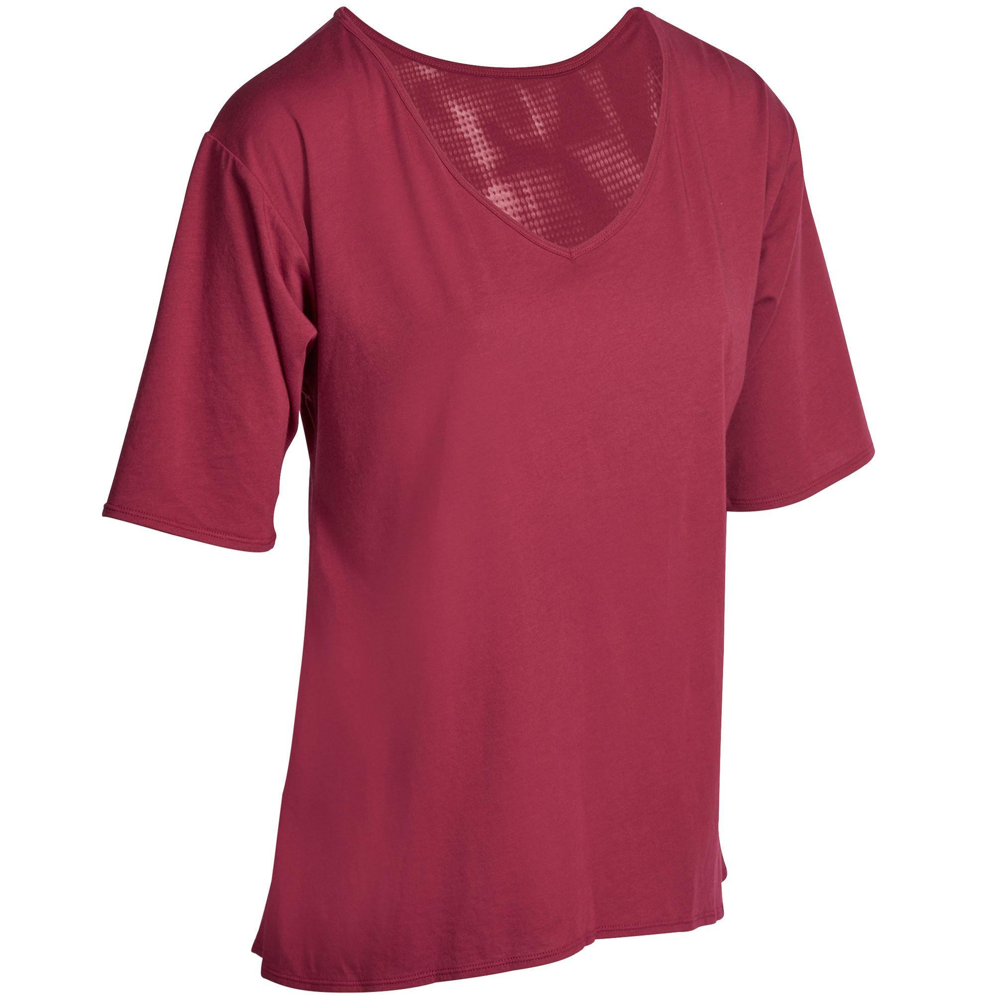 t shirt ample shape fitness femme bordeaux domyos by decathlon. Black Bedroom Furniture Sets. Home Design Ideas