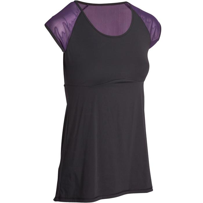 T-shirt galbant SHAPE+ fitness femme noir et violet - 926765