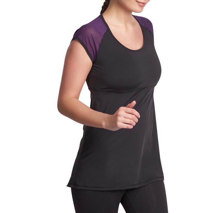 T-shirt galbant SHAPE+ fitness femme noir et violet - 926766