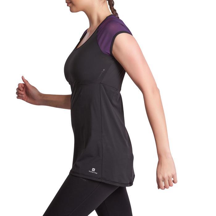 T-shirt galbant SHAPE+ fitness femme noir et violet - 926768