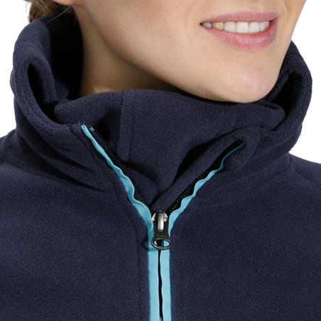 Sudadera polar con capucha equitación mujer azul marino logotipo HR azul claro