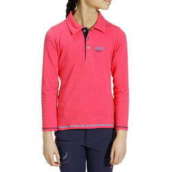Kinderpolo met lange mouwen Horse Riding ruitersport fuchsia - 927920