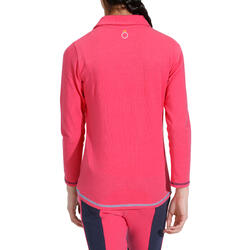 Kinderpolo met lange mouwen Horse Riding ruitersport fuchsia - 927922