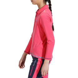Kinderpolo met lange mouwen Horse Riding ruitersport fuchsia - 927923