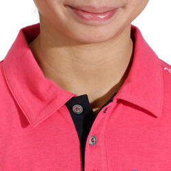 Kinderpolo met lange mouwen Horse Riding ruitersport fuchsia - 927924