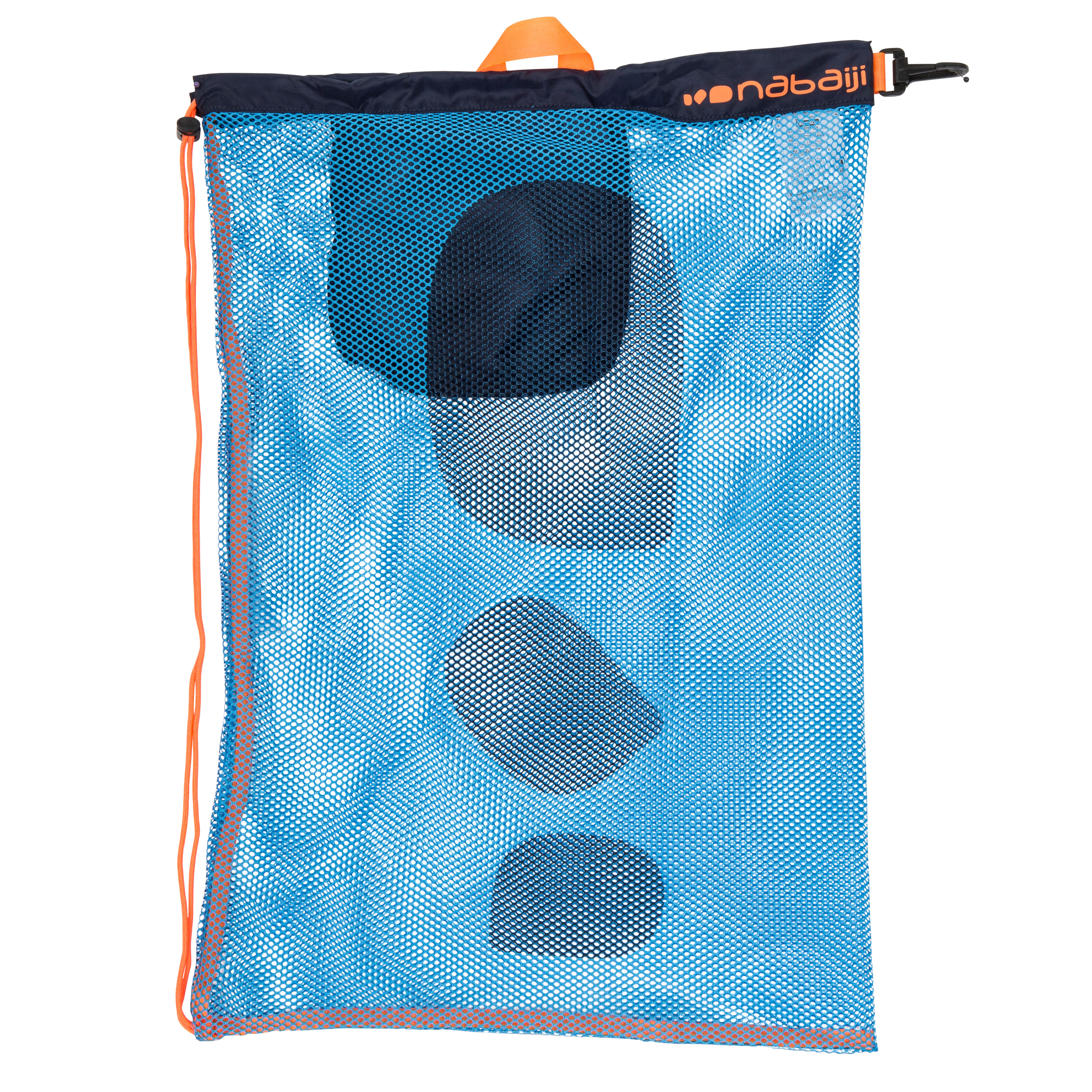 Bolsa grande azul naranja de malla para natación