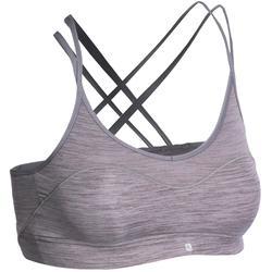 Sujetador-top Confort + fitness cardio mujer gris 100 Domyos