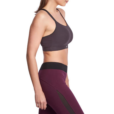 Brassière Confort fitness cardio femme noire 100 Domyos