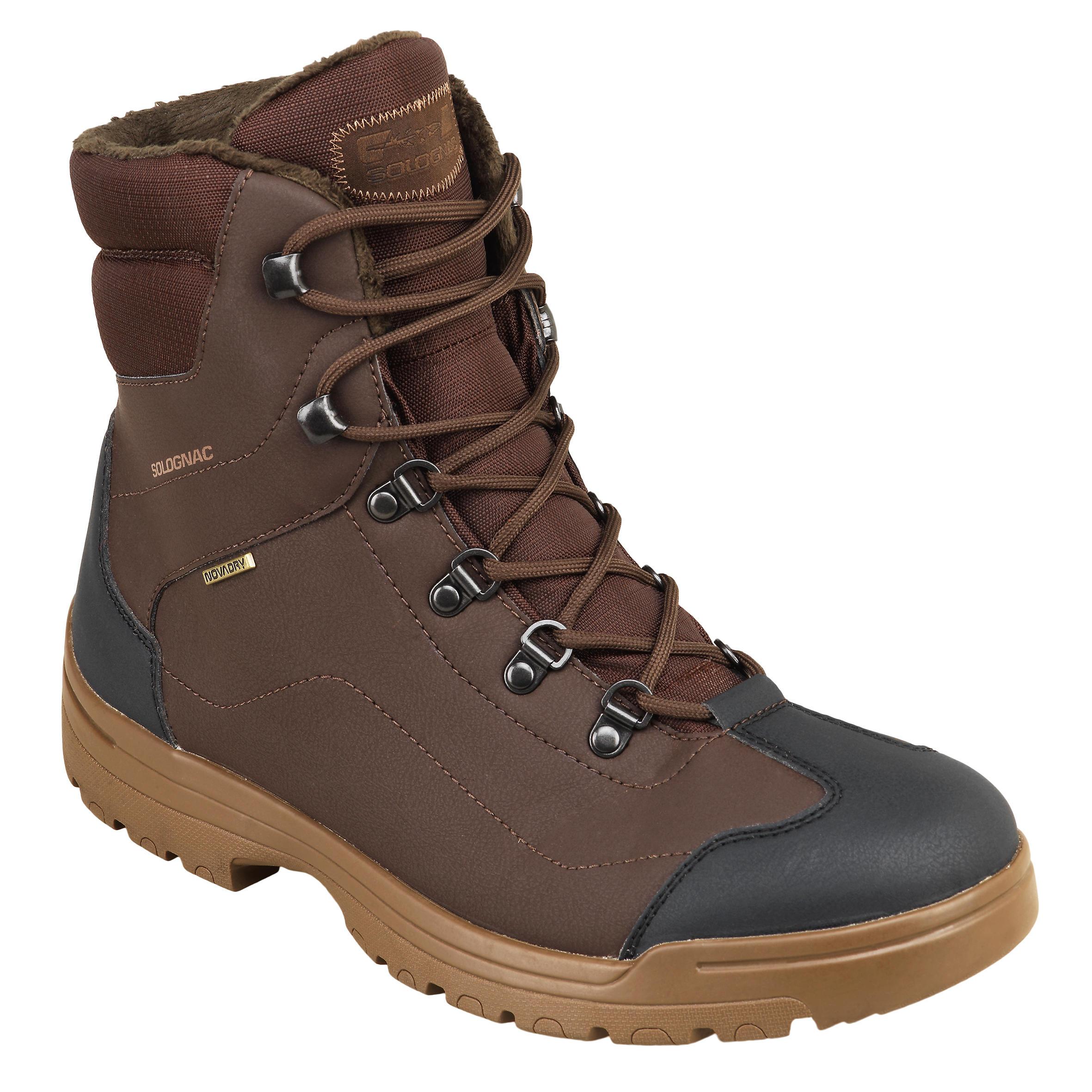 Chaussure chasse chaude imperméable land 100 warm marron solognac chez Decathlon