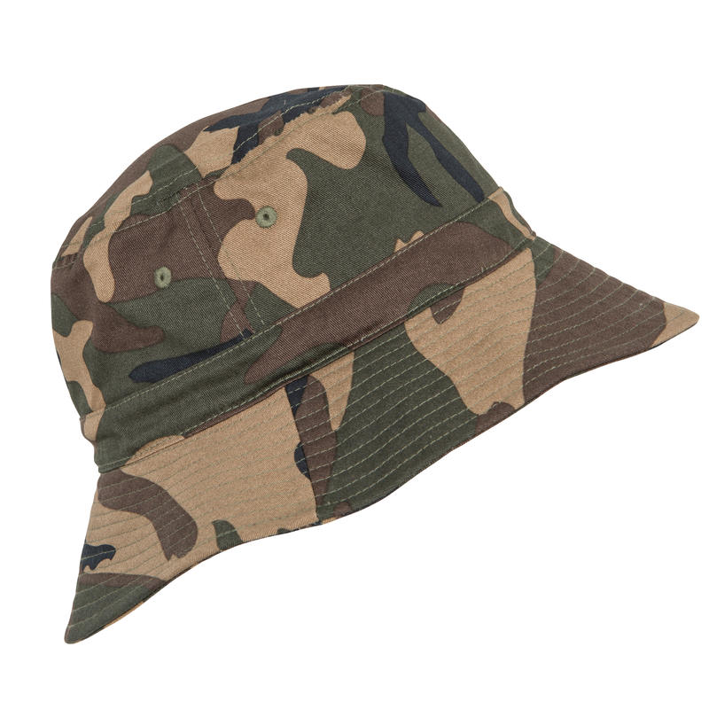 HUNTING SUN HAT STEPPE 100 CAMOUFLAGE WOODLAND