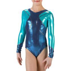 Maillot de manga larga gimnasia para niña (GAF) azul/turquesa Lign+