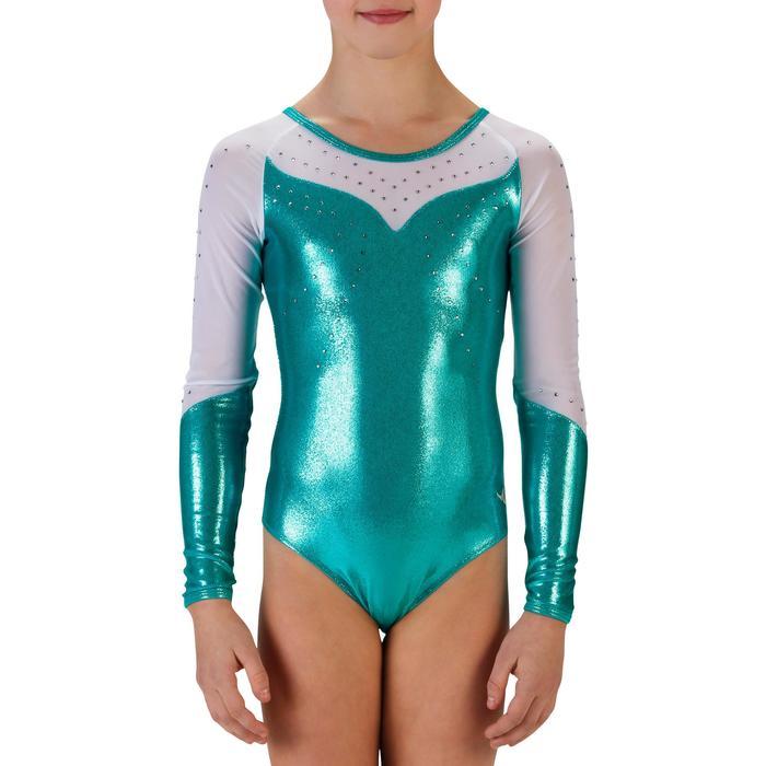 Maillot de manga larga gimnasia niña (GAF) lentejuelas/estrás/gasa turquesa
