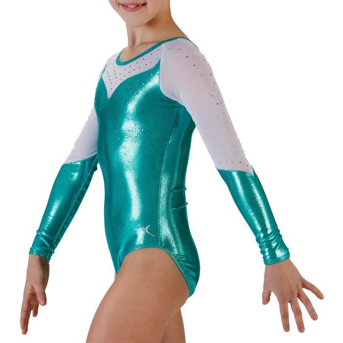 Justaucorps manches longues Gym Féminine (GAF) paillettes/strass/voile bleu. - 934236
